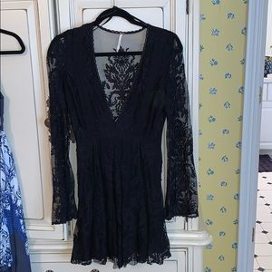 Free People Long Sleeve Black Lacy Dress